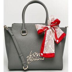 Love Moschino - Torebka. Szare torebki klasyczne damskie Love Moschino, w paski, z materiału, średnie. Za 999,90 zł.