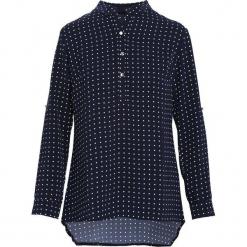 Granatowa Koszula Gossipy. Czarne koszule damskie Born2be, l, w kropki, z tkaniny, dekolt w kształcie v, z długim rękawem. Za 59,99 zł.