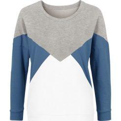 Bluza dresowa bonprix szaro-niebiesko-biel wełnym. Niebieskie bluzy damskie bonprix, z dresówki. Za 69,99 zł.