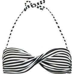 Biustonosz bikini w kolorze czarno-białym. Szare biustonosze z paskami marki Esprit. W wyprzedaży za 86,95 zł.