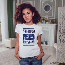 Jestem boska dopasowana koszulka tshirt damski. Białe bluzki na imprezę marki Pakamera, s, z nadrukiem, z bawełny. Za 85,00 zł.