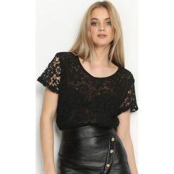 Czarna Bluzka Lucky Day. Czarne bluzki z odkrytymi ramionami Born2be, l, z koronki, z krótkim rękawem. Za 44,99 zł.