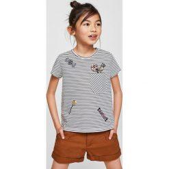 Mango Kids - Top dziecięcy Ariesd 110-164 cm. Szare bluzki dziewczęce Mango Kids, z aplikacjami, z bawełny, z okrągłym kołnierzem. W wyprzedaży za 39,90 zł.