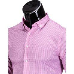 KOSZULA MĘSKA ELEGANCKA Z DŁUGIM RĘKAWEM K349 - RÓŻOWA. Brązowe koszule męskie marki Ombre Clothing, m, z aplikacjami, z kontrastowym kołnierzykiem, z długim rękawem. Za 39,00 zł.