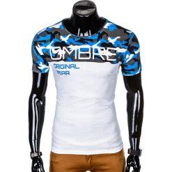 T-SHIRT MĘSKI Z NADRUKIEM S1003 - NIEBIESKI/MORO. Czarne t-shirty męskie z nadrukiem marki Ombre Clothing, m, z bawełny, z kapturem. Za 35,00 zł.