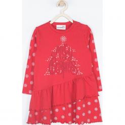 Sukienka. Czerwone sukienki dziewczęce dzianinowe Merry Christmas, w kropki, eleganckie, z długim rękawem, długie. Za 69,90 zł.