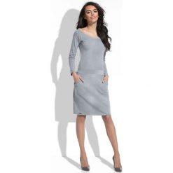 Sukienki: Szara Sukienka Dopasowana z Kieszeniami