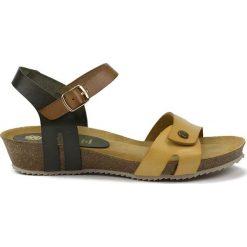 Rzymianki damskie: Skórzane sandały w kolorze czarno-brązowo-beżowym