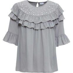 Bluzka z perełkami bonprix popielaty. Szare bluzki z odkrytymi ramionami marki bonprix. Za 99,99 zł.