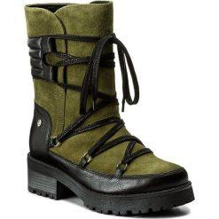 Kozaki EVA MINGE - Adora 2B 17MJ1372188EF 662. Zielone buty zimowe damskie Eva Minge, ze skóry, przed kolano, na wysokim obcasie, na obcasie. W wyprzedaży za 299,00 zł.