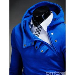 BLUZA MĘSKA Z KAPTUREM PACO - NIEBIESKA. Niebieskie bluzy męskie rozpinane marki Ombre Clothing, m, z bawełny, z krótkim rękawem, krótkie, z kapturem. Za 69,00 zł.