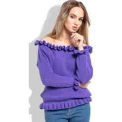 Fioletowy Sweter z Dekoltem Typu Carmen. Fioletowe swetry klasyczne damskie Molly.pl, uniwersalny, z falbankami. Za 99,90 zł.