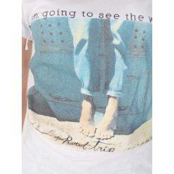 BLUZKA I'M GOING TO SEE. Szare bluzki z odkrytymi ramionami Yups, m, w jednolite wzory, z bawełny, z okrągłym kołnierzem, z krótkim rękawem. Za 12,00 zł.