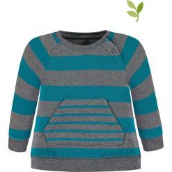 Bluza w kolorze niebiesko-szarym. Niebieskie bluzy chłopięce marki bellybutton, w paski, z bawełny. W wyprzedaży za 47,95 zł.