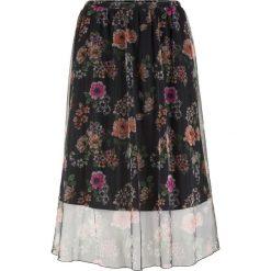 Spódnica siatkowa w kwiaty bonprix czarno-pomarańczowy z nadrukiem. Czarne spódniczki bonprix, w kwiaty. Za 89,99 zł.