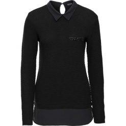 Swetry klasyczne damskie: Sweter z bluzką 2 w 1 bonprix czarno-czarny