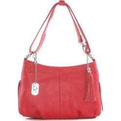 Torebki klasyczne damskie: Skórzana torebka w kolorze czerwonym – 30 x 20 x 8 cm