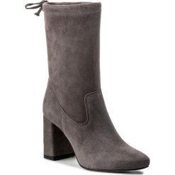 Kozaki WOJAS - 7595-60 Popiel. Szare buty zimowe damskie Wojas, ze skóry, przed kolano, na wysokim obcasie. W wyprzedaży za 289,00 zł.
