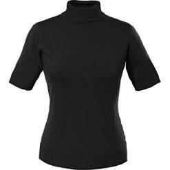Golfy damskie: Sweter z golfem, krótki rękaw bonprix czarny