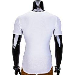 T-shirty męskie: T-SHIRT MĘSKI BEZ NADRUKU S427 - BIAŁY/CZARNY