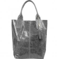 """Skórzany shopper bag """"Cybille"""" w kolorze szarym - 26 x 35 x 16 cm. Szare shopper bag damskie Spécial maroquinerie, z materiału, z breloczkiem. W wyprzedaży za 181,95 zł."""