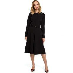 Czarna Elegancka Sukienka do Pracy za Kolano z Paskiem. Białe sukienki balowe marki numoco, do pracy, l, z nadrukiem, z elastanu, z kopertowym dekoltem, z długim rękawem, kopertowe. Za 139,90 zł.