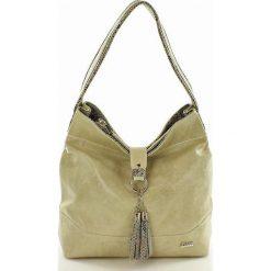 Torebki klasyczne damskie: Darella – Włoska skórzana torebka z frędzlem  beżowa