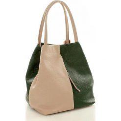 Torebki klasyczne damskie: Torebka skórzana italian bag MAZZINI CLARA – róż z zielenią