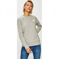 New Balance - Bluza. Szare bluzy z nadrukiem damskie New Balance, l, z bawełny, bez kaptura. Za 199,90 zł.