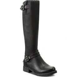 Oficerki JENNY FAIRY - WS17017 Czarny. Czarne buty zimowe damskie Jenny Fairy, ze skóry ekologicznej, przed kolano, na wysokim obcasie, na obcasie. Za 149,99 zł.
