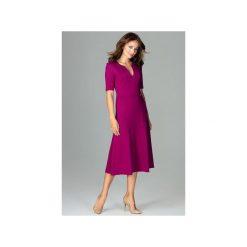 Sukienka K478 Fuksja. Czerwone sukienki na komunię marki Lemoniade, na imprezę, z satyny, z kopertowym dekoltem, z długim rękawem, kopertowe. Za 179,00 zł.