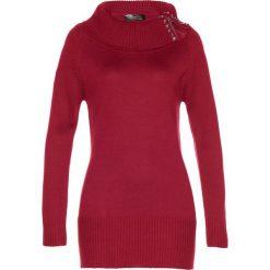 Długi sweter bonprix ciemnoczerwony. Czerwone golfy damskie bonprix, z długim rękawem. Za 109,99 zł.