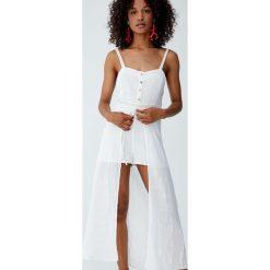 Sukienka midi na ramiączkach z guzikami. Szare sukienki hiszpanki Pull&Bear, na ramiączkach, midi. Za 139,00 zł.