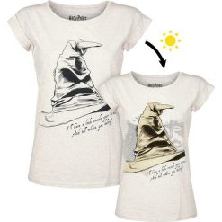 Bluzki asymetryczne: Harry Potter Der sprechende Hut - Hufflepuff Koszulka damska biały