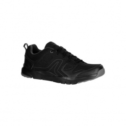 Buty do szybkiego marszu HW 100 męskie. Czarne buty fitness męskie marki NEWFEEL, z gumy. Za 79,99 zł.