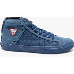 Guess Jeans - Trampki. Niebieskie trampki męskie Guess Jeans, z jeansu, na sznurówki. Za 329,90 zł.