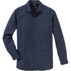 Koszula z długim rękawem, w delikatny deseń Regular Fit bonprix ciemnoniebieski. Białe koszule męskie marki bonprix, z klasycznym kołnierzykiem, z długim rękawem. Za 89,99 zł.