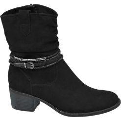Botki damskie Graceland czarne. Czarne botki damskie na obcasie Graceland, z materiału, na zamek. Za 139,90 zł.