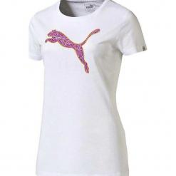 Koszulka w kolorze białym. Białe t-shirty damskie marki Puma, xs, z nadrukiem, z materiału, z okrągłym kołnierzem. W wyprzedaży za 58,95 zł.