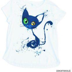 Bluzka kobieca SM z ręcznie malowanym kotem. Białe bluzki asymetryczne Pakamera, z krótkim rękawem. Za 165,00 zł.