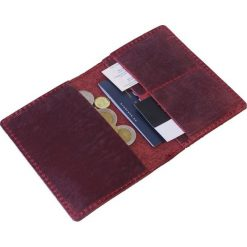 Komplet: portfel + bilonówka Brodrene czerwony. Czarne portfele męskie marki Brødrene, w paski, ze skóry. Za 124,90 zł.