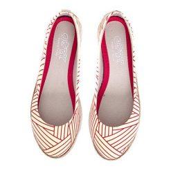 Baleriny damskie lakierowane: Baleriny w kolorze biało-czerwonym
