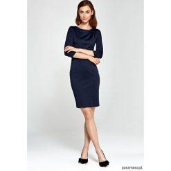 Sukienki: Sukienka z asymetrycznymi draperiami s88- granat