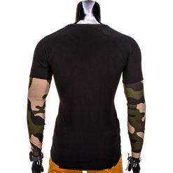 T-shirty męskie: LONGSLEEVE MĘSKI BEZ NADRUKU L65 – CZARNY/MORO