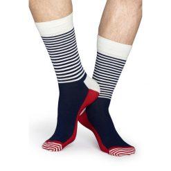 Happy Socks - Skarpety Half Stripe. Szare skarpetki męskie Happy Socks, z bawełny. W wyprzedaży za 27,90 zł.