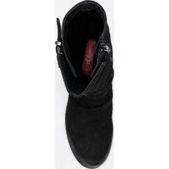 S. Oliver - Botki. Czarne buty zimowe damskie marki S.Oliver, z materiału, z okrągłym noskiem, na obcasie. W wyprzedaży za 219,90 zł.