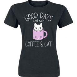 Bluzki damskie: Good Days Start With Coffee & Cat Koszulka damska czarny