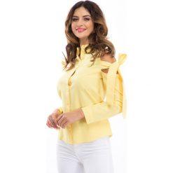Żółta koszula z wiązaniami na ramionach 10535. Żółte koszule wiązane damskie marki Fasardi, s. Za 49,00 zł.