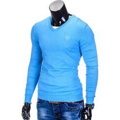 SWETER MĘSKI E74 - BŁĘKITNY. Niebieskie swetry klasyczne męskie Ombre Clothing, m, z bawełny, z dekoltem w serek. Za 49,00 zł.