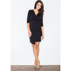 Sukienki asymetryczne: Czarna Elegancka Sukienka z Wiązaniem